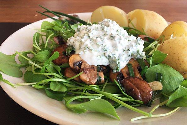 Salade van winterpostelein met champignons en creme fraiche