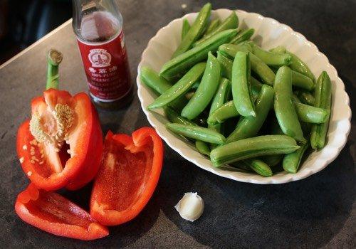 Sugarsnaps met paprika