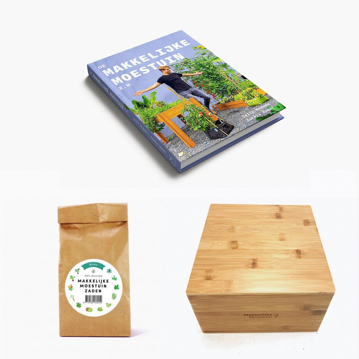 Aanbieding Makkelijke Moestuin: nieuw boek, zaden en zadenkist