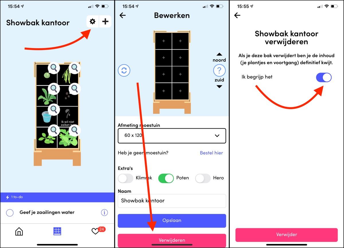 Verwijder alle bakken uit de Makkelijke Moestuin app