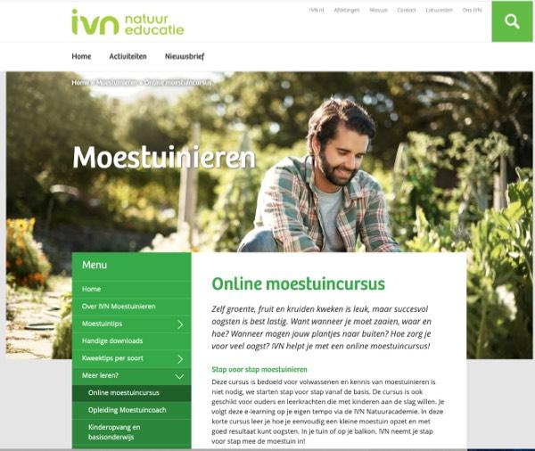 Screenshot van IVN site met moestuincursus